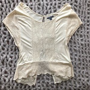 AE cream embroidered top